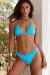 Aqua Triangle Bikini Top & Aqua Banded Brazilian Thong Bikini Bottom