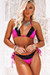 Fuchsia & Black Edge Lace Triangle Top & Fuchsia & Black Edge Lace Classic Bottom
