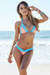 Maui Salmon & Baby Blue Triangle Top Scrunch Bottom Sexy Lace Bikini Swimsuit