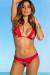 Laguna Sunset Tropical & Red Single Edge Lace Bikini Top & Maui Sunset Tropical & Red Lace Band Bikini Bottom
