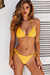 Yellow Ribbed Triangle Top & Brazilian Thong Turnback
