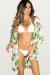 Tropical Breeze Ivory & Green Palm Print Chiffon Kimono Beach Cover Up
