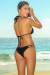 Solid Black Double Strap Triangle Top & Micro Scrunch Swimsuit
