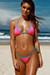 Pink Polka Dot & Aqua Triangle Bikini Top & Pink Polka Dot & Aqua Mid Rise Cheeky Micro Bikini Bottom