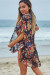 Jack Rose Black Floral Print Chiffon Kimono Beach Cover Up
