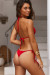 Red Ribbed Triangle Top & Red Ribbed Brazilian Thong Bottom