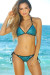 Antigua Turquoise & Black Metallic Mermaid Bikini Top & Single Rise Scrunch Bottoms