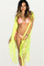 Durango Neon Yellow Geo Mesh Fringed Boho Vest Bikini Cover Up