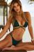Hunter Green Center Loop Wrap Around Bikini Top & Hunter Green Double Strap Side Loops Brazilian Thong Bikini Bottom