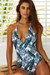 Lolita Tropical Palm V Neck Halter One Piece Swimsuit