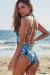 Lolita Tropical Palm V Neck Halter One Piece Swimsuit