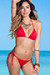 Solid Red Triangle Top & Cheeky Micro Scrunch Bun® Bottoms Bikini