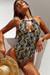 Heather Black Palm Keyhole Halter One Piece Swimsuit