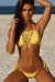 Amaryllis Yellow Crochet Bandeau Halter Top & Micro Scrunch Bottom Bikini