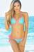 Seychelles Aqua & Neon Pink Sparkly Mermaid Bikini Top & Single Rise Scrunch Bottoms