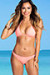 Ibiza Brazilian Cut Solid Salmon Triangle Top Sexy Thong Bikini