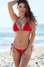 Solid Red Triangle Top & G-String Thong String Bikini