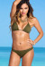 Solid Olive Triangle Top & Banded Brazilian Thong Bikini