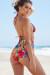Waikiki Sunset Tropical Print Triangle Top & Scrunch Bottom Retro Sexy High Waist Bikini