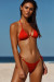 Red Double Strap Center Loop Triangle Top & Red Side Loops Classic Scrunch Bottom