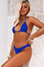 Royal Blue Triangle Top & Royal Blue Banded Brazilian Thong Bottom