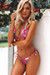 Laguna Pink Hibiscus Triangle Top & Venice Pink Hibiscus Cheeky Micro Scrunch Bikini Bottoms