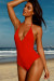 Lolita Red V Neck Halter One Piece Swimsuit