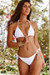 White Ribbed Triangle Top & White Ribbed Full Coverage Scrunch Bottom