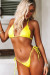 Neon Yellow Triangle Top & Neon Yellow G-String Thong Bottom