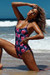 Marilyn Midnight Hibiscus Back Lace Up One Piece Swimsuit