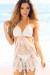 Daiquiri White Scallop Hem Side Cut Out Backless Sexy Crochet Beach Dress