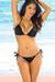 São Paulo  Solid Black Triangle Bikini Top & Sexy Thong Bikini Swimsuit