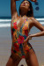 Lolita Sunset Tropical V Neck Halter One Piece Swimsuit