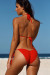 Amaryllis Red Crochet Bandeau Halter Top & Micro Scrunch Bottom Bikini