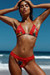 Laguna Sunset Tropical & Red Single Edge Lace Bikini Top & Maui Sunset Tropical & Red Lace Classic Band Bikini Bottom