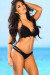 Lotus Sexy Black Triangle Top & Double Strap Scrunch Bottom Crochet Bikini