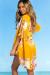 Marsala Yellow Floral Print Chiffon Kimono Beach Cover Up