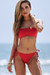 Red Bandeau Top & Red Full Coverage Scrunch Bottom