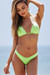Neon Green Triangle Top & Neon Green Banded Brazilian Thong Bottom