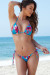 Acapulco Teal Orchids Print Cheeky Micro Scrunch Bottoms & Triangle Top Bikini