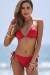 Red Triangle Bikini Top & Red Full Coverage Scrunch Bottom