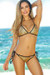 Antigua Gold & Black Metallic Mermaid Bikini Top & Single Rise Scrunch Bottoms