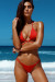 Red Center Loop Wrap Around Bikini Top & Red Double Strap Side Loops Brazilian Thong Bottom