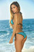 Vegas Turquoise & Black Triangle Top Single Rise Scrunch Bun® Sexy Sequin Bikini