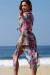 Grenadine Pink Tropical Print Chiffon Beach Cover Up