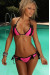 Florence Fuchsia & Black Triangle Scrunch Bun® Sexy Lingerie Lace Bikini