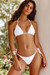 White Ribbed Triangle Top & White Ribbed Brazilian Thong Bottom