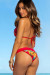 Laguna Sunset Tropical & Red Single Edge Lace Bikini Top & Maui Sunset Tropical & Red Lace Band Bikini Bottom