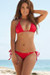 Laguna Solid Red Triangle Bikini Top & Single Rise Scrunch Bottom Swimsuit