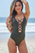 Chamomile Olive Green Plunging Crisscross Cut Out One Piece